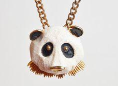 Vintage 60s 70s Large Panda Bear Head Pendant by twinheartsvintage