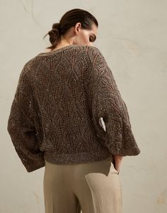 Linen and cotton sweater (211MAJ584900) for Woman | Brunello Cucinelli Sweater Cardigan, Men Sweater, Pullover, Brunello Cucinelli, Cotton Sweater, Knitwear, Sweaters For Women, Style, Cardigans