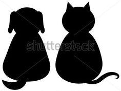 Negra Silhueta DE UM Gato E UM Cachorro imagem vetorial - VectorHQ.com