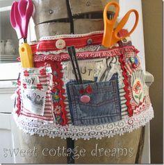 Cute idea! Made of vintage fabrics, hankies, etc. from Sweet Cottage Dreams.
