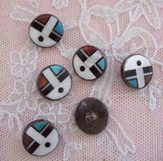 Fabulous Native American Zuni Buttons Circa 1950s