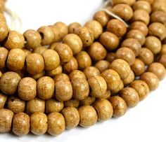 Natural Wood Beads 14mm Tan Wood Beads Strung by HempBeadery