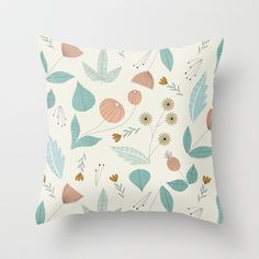 1950s Floral Throw Pillow by Elizabeth Olwen - $20.00
