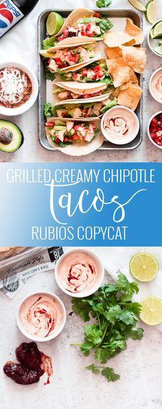 Rubios Copycat - Grilled Creamy Chipotle Tacos | homemade taco recipes | easy taco recipes | chicken taco recipe | chipotle sauce recipe | how to make homemade tacos | how to make chipotle sauce | homemade Mexican recipes || Oh So Delicioso #grillingrecipes
