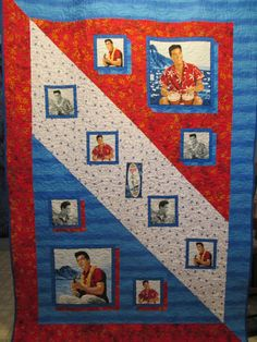 Elvis in Blue Hawaii, a panel quilt. Designed and made by Paula Rumback. I made this for my California cousin, Carolyn. I hope she loves it as much as I do!!