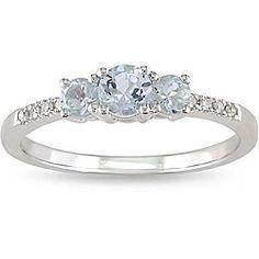 for me maybe? Miadora 10k White Gold Aquamarine and Diamond Ring