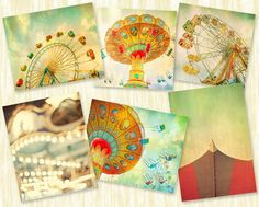 Nursery art, carnival photography, children's decor, baby's room, wall decor, wall hanging, wall art, ferris wheel - set of 6 prints on Etsy, $85.00