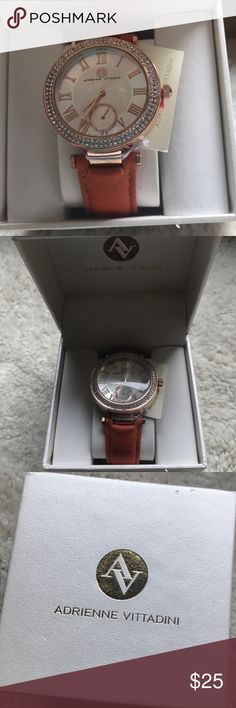 Adrienne Vittadini Watch NWT Brand new, still in original box. The Watch as never been started so the battery is new! The band is burnt orange/brown in color. Adrienne Vittadini Accessories Watches