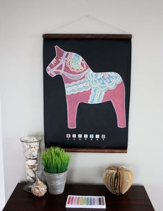 Fun items to make your home a little cozier.    Chalk-By-Number Dala Horse. $65.00, via Etsy.
