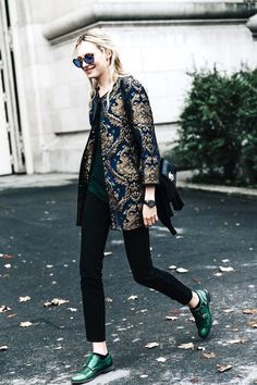 miu miu sunglasses, brocade jacket, skinny jeans & green monk strap shoes #style #fashion #streetstyle
