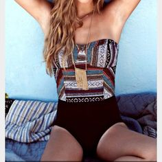 Tribal one piece strapless bathing suit