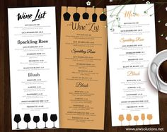 Wine List - Wine Menu by @Graphicsauthor