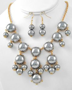 Romantic Pearls Necklace & Earring Set $28