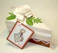 cake slice box filled with chocolates.