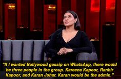 """When, like everyone else, Kajol confirmed who the biggest gossips in the industry are. 16 Moments From Kajol And Ajay Devgn's """"KwK"""" Episode That Were Either Banterous Or Just Plain Mean Marriage Words, Koffee With Karan, Gang Up, Brownie Points, Karan Johar, World 7, Vintage Bollywood, Forget Him, Bollywood Gossip"""