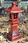 Red Concrete Pagoda Lanterns for Yard Cement Garden, Cement Art, Concrete Statues, Stone Statues, Outdoor Garden Statues, Pagoda Garden, Japanese Garden Design, Yard Art, New Art