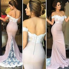 Prom Gown,Pink Prom Dresses With Lace,Off The Shoulder Evening Gowns,Mermaid Formal Dresses,Pink Prom Dresses 2016