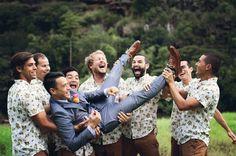 We love these laid-back groomsmen   Hawaii Wedding   Bohemian Oahu Wedding: Alana + Kyle