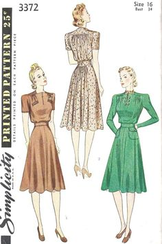 Misses Tailored Dress. Blouse gathered at upper and lower edges is attached to one-piece yoke, fronts faced and closed with slide fastener or button links; welt pockets optional. The four piece skirt gathered at back made with or without flap pockets. Two-piece yoke joins blouse and skirt. Long dart fitted sleeves are perforated for short sleeves. Copyright 1940