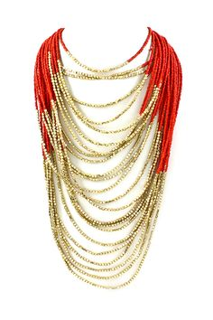 red and gold draped beads