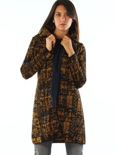 Geometric patterned wool blend casual long jacket.  http://www.luanaromizi.com/en/jackets-blazers-woman/abstract-patterned-wool-blend-casual-long-jacket.html #geometric #patterned #woolblend #casual #longjacket #madeinitaly #freesketch #luanaromizi #fallwinter