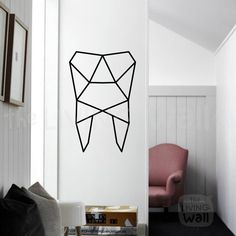 Geometric Tooth Wall Art, Tooth Stickers Wall Decal Decor, Australian Made