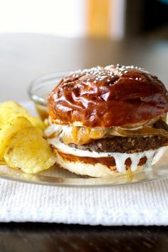 "French Onion ""Burgers"" with Onion Au Jus and Horseradish Chive Sauce."