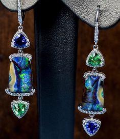 Back at it again with the Opal designs! Mint Garnet, Tanzanite, and Boulder Opal make a great team. • • • • • #mintgarnet #tanzanite #boulderopal #opalicious #opaljewelry #opal #australianopal #finejewelry #jewellery #jewelryart #jewelrydesigner #jewellerydesign #showmeyourearrings #danglerearrings #luxurybyjck #jckmagazine #trillioncut #gemstones #coloredgemstones #stonesthatspeak #designhouse #gemstonesforjewelry #designjewelry #wearableart #addmorecolortoyourlife