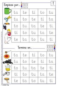 Cuadernillo en letra imprenta para trabajar la lectura, grafía y conciencia fonológica de la letra T. Este cuadernillo de 3 páginas forma parte de la