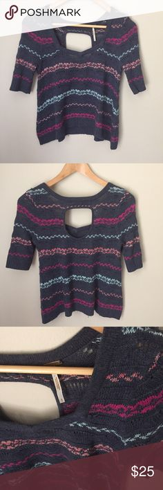 Free People Crop Top Lovely top with cutout in upper back. Will look great paired with Boho skirt or jeans. Size Small Free People Tops Crop Tops