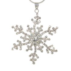 Silver CZ Snowflake Pendant Necklace | Winter Holiday Christmas Jewelry Queen Bee Jewlery