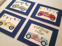 Vintage race car nursery kids wall art for little by terezief, $21.00