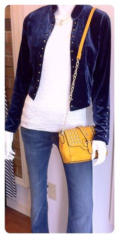 The outwear piece you need for Fall? A velvet jacket in a rich blue color! Pair it w/ a contrasting clutch! #FallFocus ~ Apricot Lane South Florida