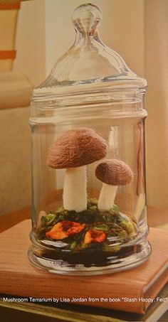 Needle Felted Terrarium, by Amanda Carestia.  Abigail's next needle felting project.  Oh how I wish the library would order this book.  I love Fa La La Felt.