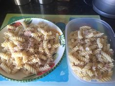 Tonight's dinner and tomorrow's lunch for work. Pasta with extra light mayo (table spoon) and a tin of tuna.