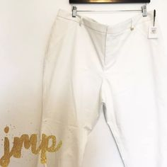 """Calvin Klein Pants Size: 18W   Retail Value: $78  Condition: New with tags, shelf pull (never worn)  Material: Shell: 63% cotton 34% Polyester 3% spandex  Measurements: Waist: 42"""" Hips: 50"""" Rise: 12"""" Inseam: 28""""  Description: Ankle zip, no pockets Calvin Klein Pants Ankle & Cropped"""