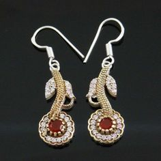 Designer Silver Jewellry Ruby Stone Earring Women Wedding Ethnic Indian Jewelry Stone Earrings, Women's Earrings, Crochet Earrings, Women Jewelry, Fashion Jewelry, Ethnic Wedding, Ruby Stone, Steel Jewelry, Classy And Fabulous