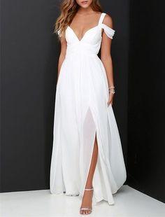 2016 Custom White Chiffon Prom Dress,Sexy Off The Shoulder Evening Dress