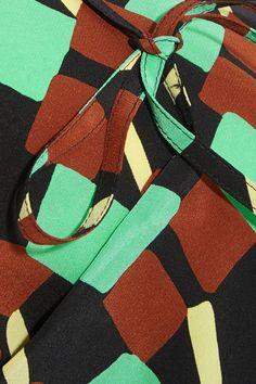 Prada - Printed Silk Crepe De Chine Wrap Skirt - Turquoise - IT38