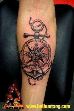 Nautical compass and anchor nautical compass n anchor for Tattoo on forearm pain