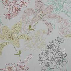 Papel de parede floral lírios delicados 020   Papeldecor.com.br - Papel de Parede para sua Casa em Oferta é Aqui!