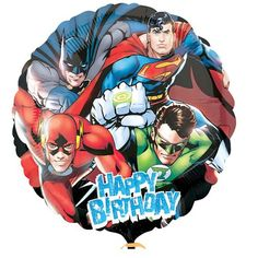 Justice League Balloon with Superman Batman and Friends birthday party supplies: 17 inch mylar balloon is a great addition for the Justice League Party of as a single balloon. Can be filled with helium. Balloon is double sided and self sealing Superman Birthday, Superhero Birthday Party, 4th Birthday, Birthday Ideas, Birthday Parties, Superhero Balloons, Justice League Party, Happy Birthday Foil Balloons, Mylar Balloons