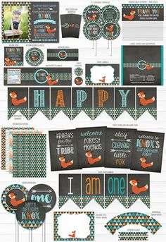 Printable Fox Chalkboard Complete Party Package | Tribal Fox Party Decor | Woodland | Boys 1st Birthday | Fox Chalkboard Invitation | Cupcake Toppers | Banner | Signs | Favor tag | Water Bottle labels | Food Labels | Candy Bar Wrappers | High Chair Banner and more!