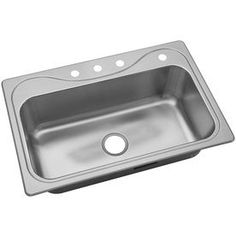 Southhaven 33-in x 22-in Single-Basin Stainless Steel Drop-In 4-Hole Commercial and Residential Kitchen Sink