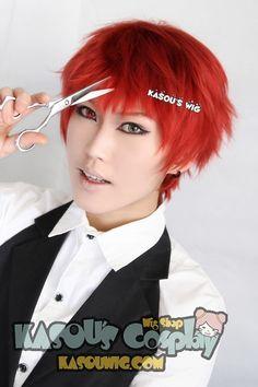 [Kasou Wig] Kuroko no Basketball / KNB Seijuro Akashi short layers dark red cosplay wig with short bangs . KA042