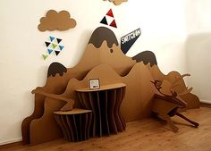 Cardboard furniture part II: how to waterproof it all Cardboard Design, Cardboard Display, Cardboard Crafts, Paper Crafts, Cardboard Playhouse, Display Design, Booth Design, Store Design, Exhibition Display