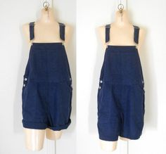 Women Overall Bib Overall Shorts Cotton Overall by TheVilleVintage, $36.99