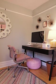 Office - i like the simplicity of the desk set up...and the super sweet footstool. brilliant.  Though, im a PC and have a bazillion wires running around underneath my desk. any clever ideas Pinterest? haha