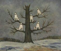"""Wolves Sitting in a Tree* O ego não é o mestre em sua própria casa Sigmund Freud. Um dos pacientes mais famosos de Freud foi Sergei Pankejeff. O pesadelo de infância que ele contou à Freud e que mais tarde foi retratado nesta pintura deu a ele o apelido de o """"Homem Lobo"""". Sua interpretação por meio da livre associação abriu um mundo oculto de desejos infantis e ansiedades. Pankejeff, Sergei; Wolves Sitting in a Tree*; Freud Museum London. 160º Aniversário de Sigmund Freud."""