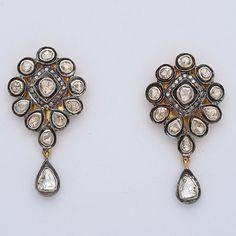 1 cts Rose Cut Diamond Victorian Mughal Style Wedding Designer Earrings Jewelry Art Deco Jewelry, I Love Jewelry, Jewelry Design, Mughal Jewelry, Antique Earrings, Rose Cut Diamond, Silver Diamonds, Designer Earrings, Wedding Designs